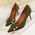 Novas Mulheres Da Moda Bombas Sapatos de Salto Alto Rasa Doce Pequeno Bowknot Sapatos Único Apontou Sapatos de Camurça Costura Sapatos Único G2715-2