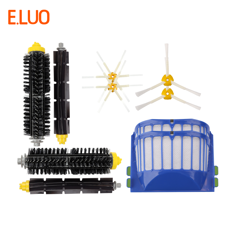 E.LUO Side Brush, Bristle & Flexible Beater Brush, Aero Vac Filter Replacement Parts for iRobot Roomba  600 620 630 650 Series E.LUO Side Brush, Bristle & Flexible Beater Brush, Aero Vac Filter Replacement Parts for iRobot Roomba  600 620 630 650 Series