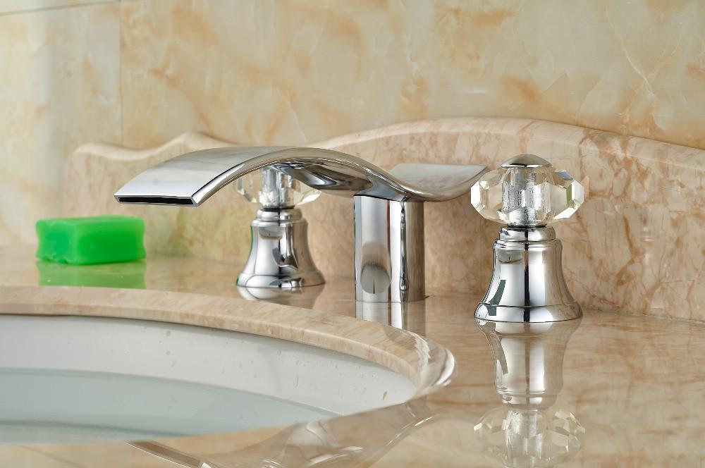 Discount Bathroom Faucets >> Elegant Waterfal bathroom Faucet Chrome Shape Double Crystal Handle Sink faucet Hot&Cold MIxer ...