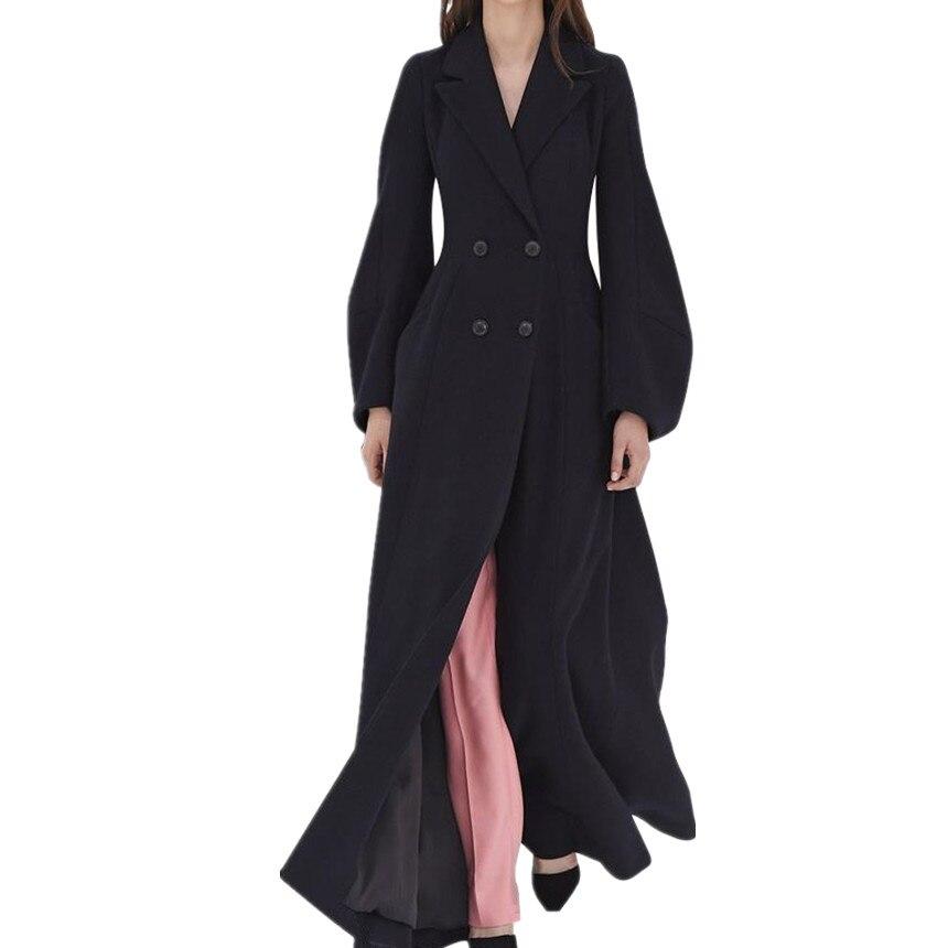 Plus la taille 2XL hiver femmes de laine manteau revers noir double breasted longue section mince cachemire manteau