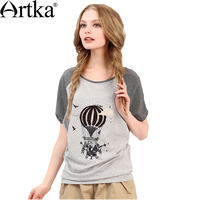 Artka 2018 New Summer Breathable Patchwork T Shirt Print Short Sleeve O Neck Casual Loose T