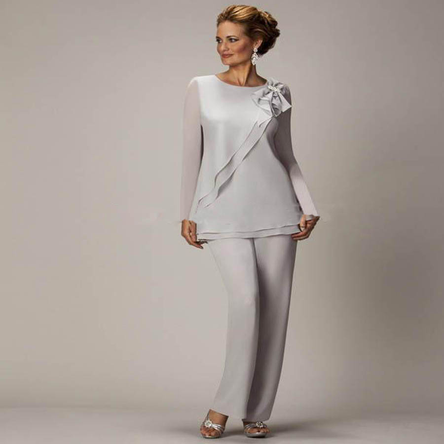 2016 Mother Of Bride Dresses With Jacket Sheath Scoop Long Sleeves Floor Length Chiffon Brides Wedding Party Gowns Plus Size in Mother of the Bride Dresses from Weddings Events