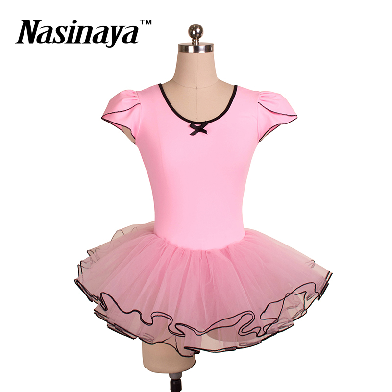 Rhythmic Gymnastics dress Leotard RG Costume Children s Ballet Performance tutu Girls Dance Skirts Short Sleeves