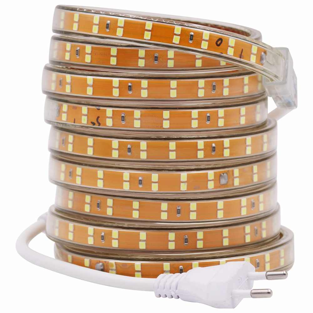 SMD 2835 LED Strip 220 V 240 V 156 LED/M Tahan Air LED Pita Tali Hangat Putih/Merah /Biru Garis 5 M 10 M 15 M 20 M 50 M 100 M Uni Eropa Power Plug