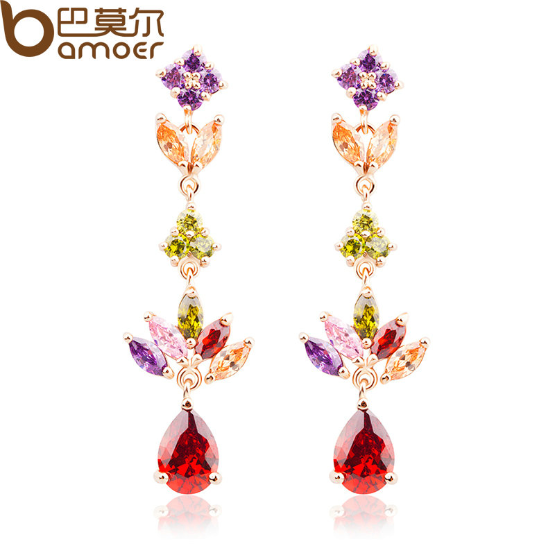 BAMOER Gold Color Gold Unique Dangle Earrings with Multicolor AAA Zircon Stone Engagement Jewelry JIE021 gold plated stone asymmetry dangle earrings