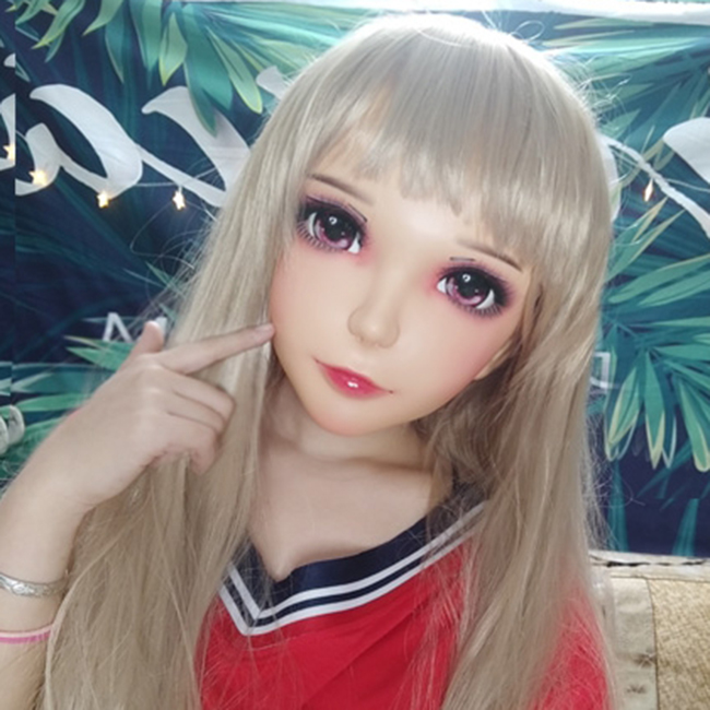 Novelty & Special Use female Sweet Girl Resin Half Head Kigurumi Mask With Bjd Eyes Cosplay Japanese Anime Role Lolita Mask Crossdress Doll ling-05 Costumes & Accessories