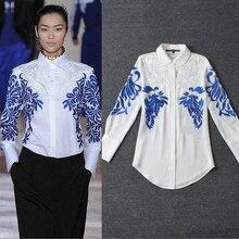 Fast Shipping New Runway Fashion Women Luxury Embroidery Organza Blouse Turndown Collar Full Sleeve Silk Tops
