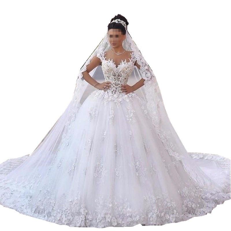 Robe de noiva princesa luxo Dos Nu Chérie Dentelle Robe De Mariée Voir À Travers Royal Queue De Luxe Robe De Mariée Robe de mariée