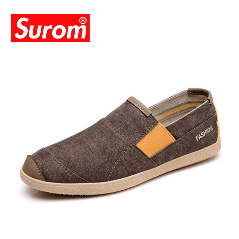 все цены на SUROM Fashion Mens Shoes Casual Hot sale Slip On Loafers Spring Summer Shoes Breathable Male Espadrilles Canvas Sneakers онлайн
