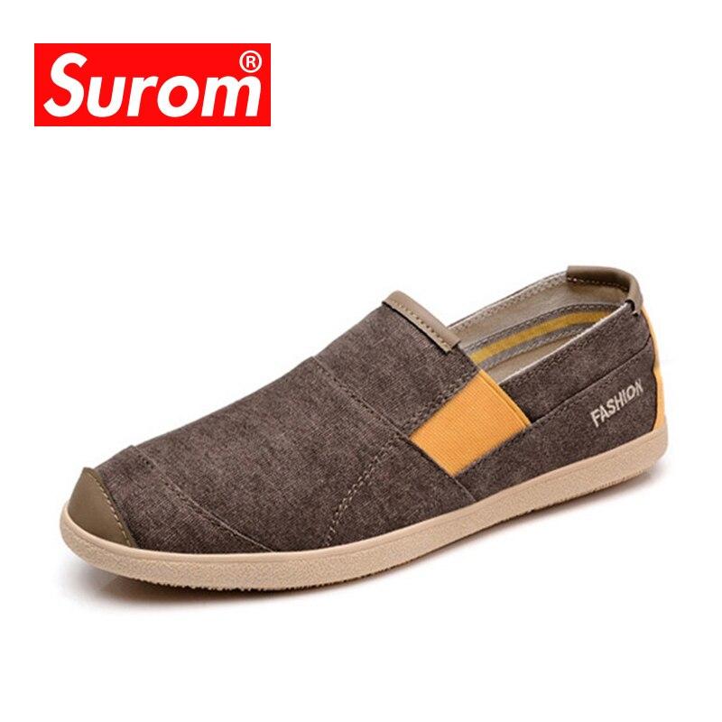 SUROM Mode Hommes Chaussures Casual vente Chaude Glissement Sur Mocassins Printemps Chaussures D'été Respirant Mâle Espadrilles Toile Sneakers