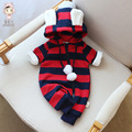 Infant Baby Winter Striped Velvet Rompers Girls Ear Cute Hooded Jumpsuit Children Clothes Boys Clothing Set Jackets Coat OF Bebe