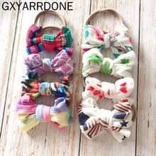 цена на 10pc 2019 Baby Girls Colorful Headband Knot Tie Turban Headwrap Stretchy Printing Hair Bows Baby Nylon Headband Hair Accessories