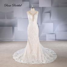 Rosabridal Mermaid Wedding Dress Champagne  Deep V Neck heavy beading lace appliques embroidery open back Trumpet bridal gown