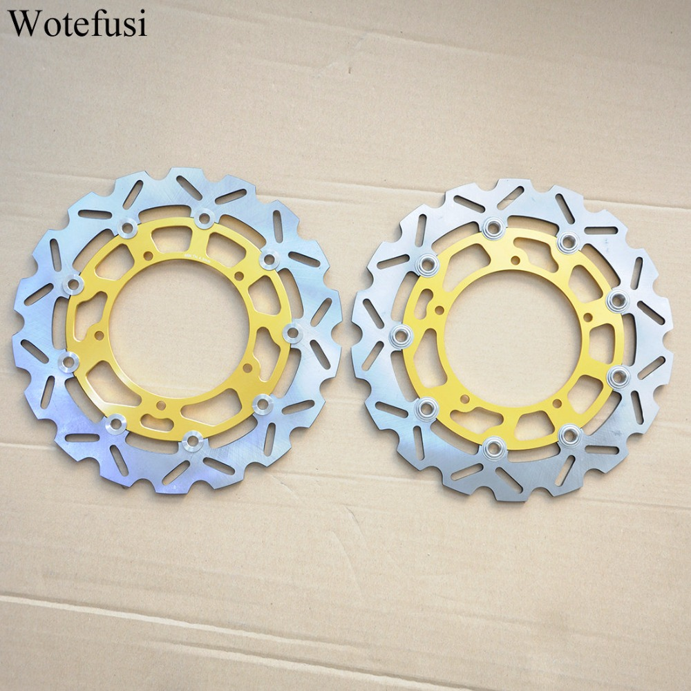 Wotefusi Front Brake Discs For Yamaha 2006 07 08 09 10 2011 2012 2013 YZF R6 2007 08 09 10 11 12 13 2014 YZF R1 [PA415-PA416] front rear brake discs rotor for yamaha yzf r1 2007 2008 2009 2010 2011 2012 2013 yzf r6 2006 2007 2008 2009 2010 2011 2012 gold