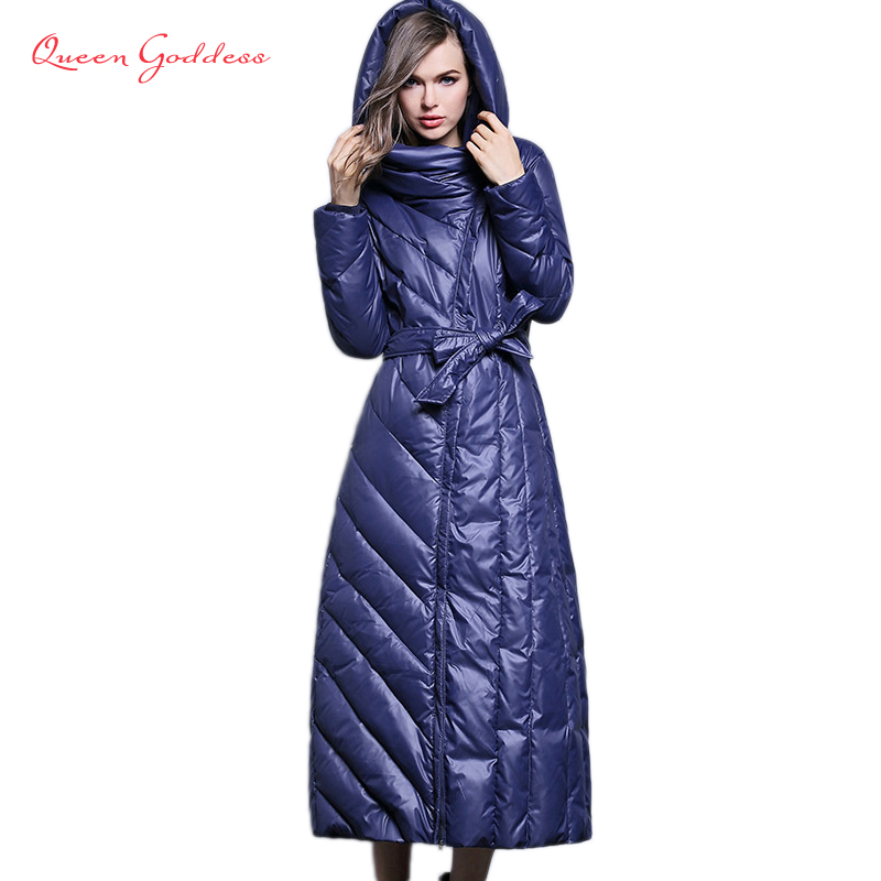 Fashion White Duck Down In The Long Paragraph Down Jacket Women Long Over The Knee Slim Was Thin Thick