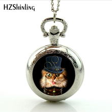 Antique bronze vintage Cat pocket watch Necklace  Cat With Sunglasses STEAMPUNK CAT Watch Steampunk Pendant Cat with Monocle