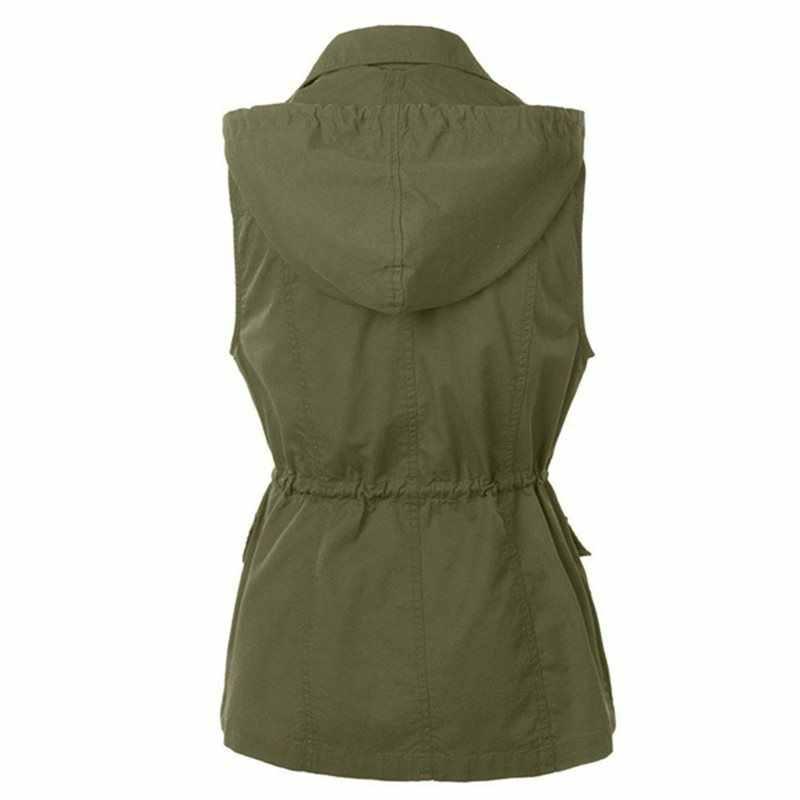 Casual kış sıcak artı boyutu gotik siyah uzun yelekler kadın yeşil kapşonlu düğme cep sonbahar kadın moda yelek 2019