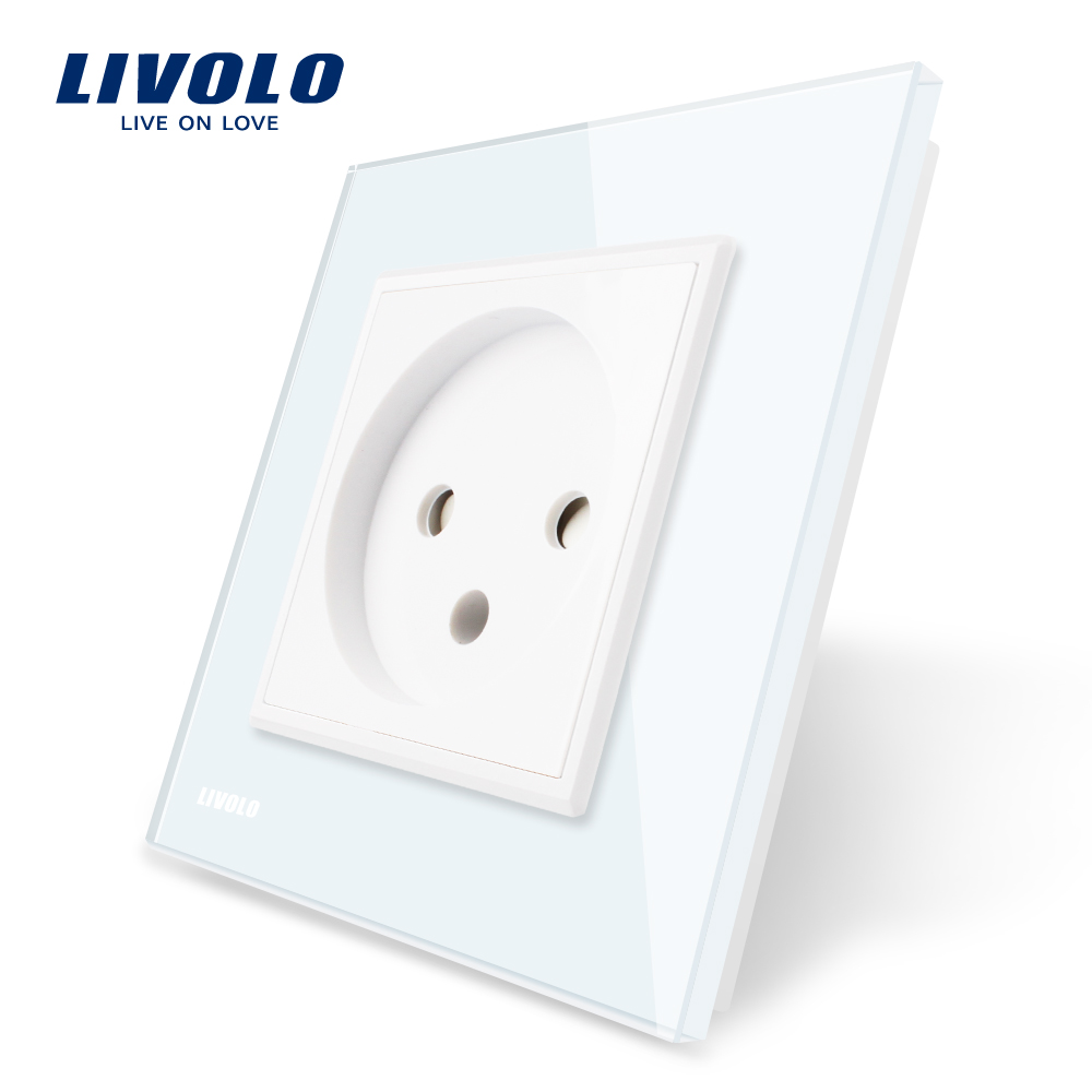 Livolo EU Standard Israel Power Socket, White Crystal Glass Panel, AC 100~250V 16A Wall Power Socket, VL-C7C1IL-11 livolo remote switch with crystal glass panel wall light remote touch led indicator 3gang 1 way vl c503r 11 12 without remote