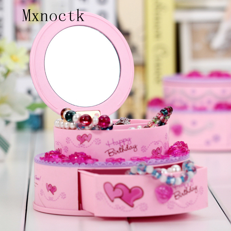 Pink Cake Design Music Box Lovely Girl Gift Jewelry Boxes With