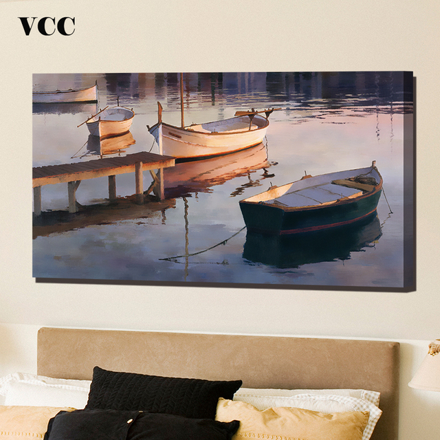 VCC Mediterranean Style Boat Picture,Wall Art Canvas Painting ...