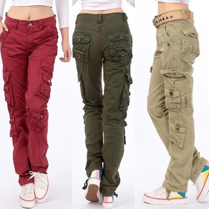 Women's Cotton Cargo Pants Leisure Trousers More Pocket Pants Causal Pants