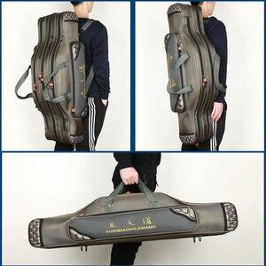 Image 5 - Taşınabilir çok fonksiyonlu balıkçı çantası Pesca tuval 80/90/100/120CM olta 3 katmanlı 4 katmanlı seyahat taşıma çantası Pesca XA49G