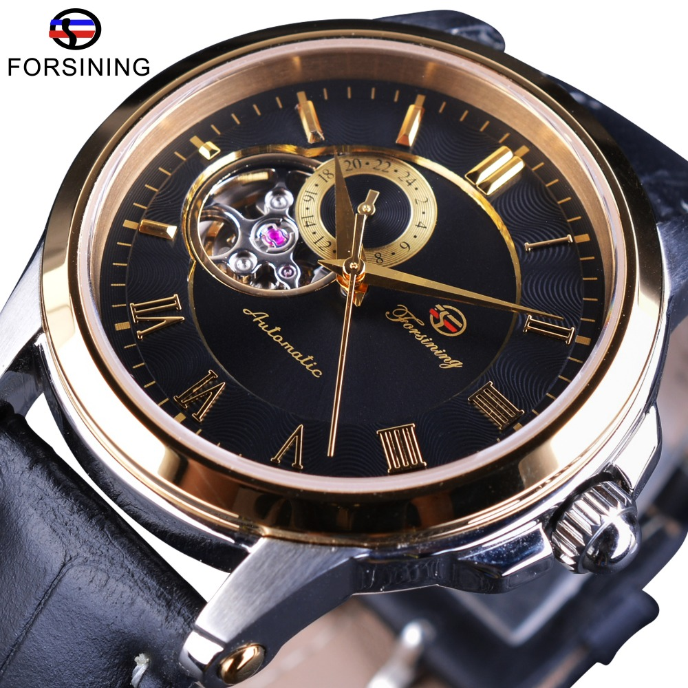 Forsining Transparent Japan Mechanical Movement Mens Watches Top Brand Luxury Genuine Leather Strap Automatic Golden Wrist Watch forsining 3d skeleton twisting design golden movement inside transparent case mens watches top brand luxury automatic watches