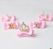 2016 New South Korean Pet/children hair super shiny diamond crown kitten package edge clip 20pcs
