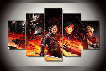 Large HD Poster Witcher 3 Comics Oil Paintings on Canvas Unframed 5 Pcs Wall Pictures For Living Room Wall Art Modular Pictures