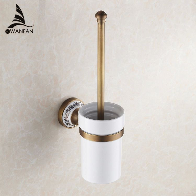 все цены на Toilet Brush Holders Luxury Antique Finish Toilet Brush Holder With Ceramic Cup Household Products Bathroom Decoration HJ-1809 онлайн