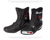 PRO-BIKER Black Motorcycle Boots PU Leather Speed Racing Moto Motorbike Boots Racing Dirt Bike Off-Road Motocross Shoes