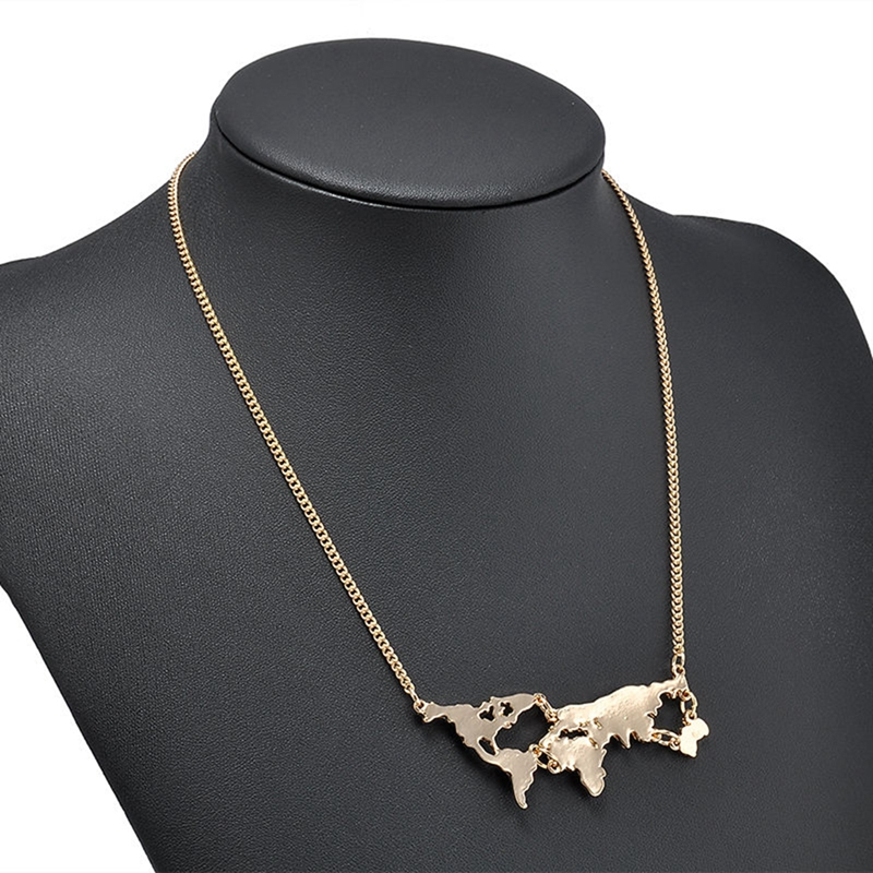 New fashion world map pendant necklaces personality gold silver new fashion world map pendant necklaces personality gold silver black statement chain necklace for women jewelry accessories in pendant necklaces from gumiabroncs Image collections