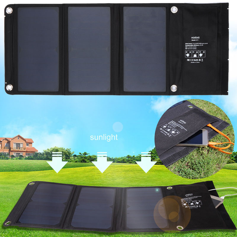 High Efficiency 21W Sunpower Folding Solar Charger Dual USB Output Solar Panel Charger For iphone / For Samsung usb3 0 round type panel mounting usb connecter silver surface