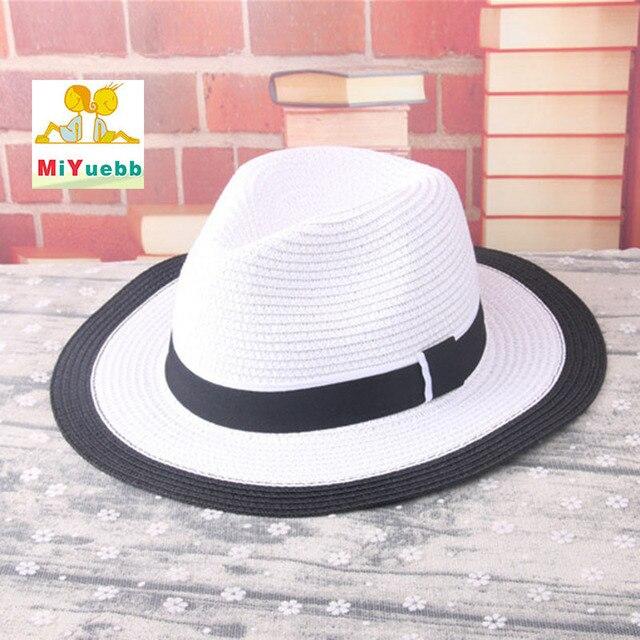 Blok matahari anak bayi Gadis boy pria dewasa wanita perempuan musim panas  topi Bergaris pita pantai c2a65231ab