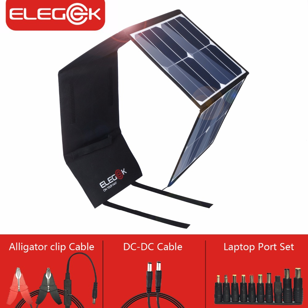 ELEGEEK 50W Portable Foldable Solar Panel Charger USB 5V Outdoor Camping DC 12V Solar Battery Charger for Phone/Laptop portable outdoor 18v 30w portable smart solar power panel car rv boat battery bank charger universal w clip outdoor tool camping
