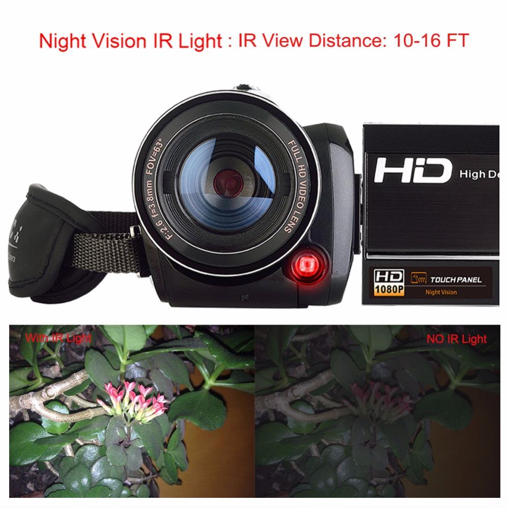 Marvie LED Fill Lights Portable 24.0 MP 3.0 Screen DV Camera FHD Camcorder Digital Video Recorder 16X Zoom IRNight Vision Cam 5