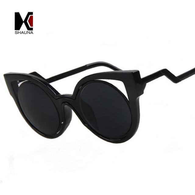 SHAUNA Classic 6 Colors Women Cateye Sunglasses Brand Designer Summer Style Fashion Zigzag Legs Mirror Coating UV400