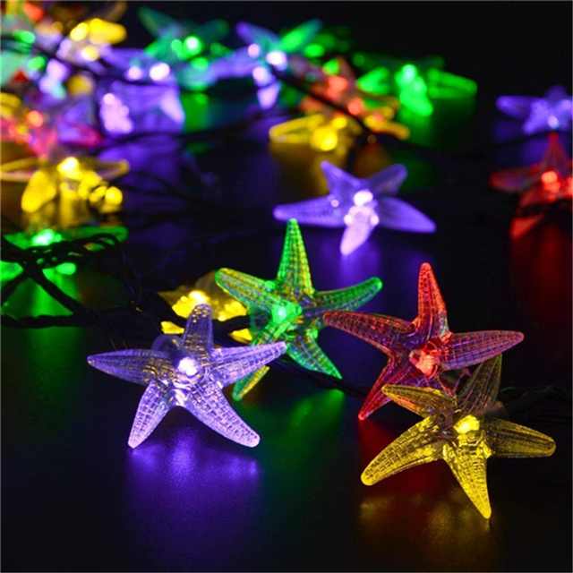 Christmas Solar Lights 20ft 30 LED 8 Modes Starfish Solar Fairy String Lights for Tree Outdoor Gardens Fast Delivery Solar Light