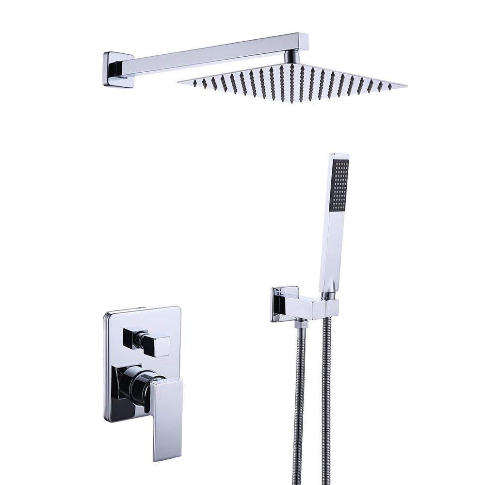 Salle de bain Mitigeur Robinet de Douche Garniture Corps de Vanne Douchette Kit Complet Carré Moderne en Chrome Poli
