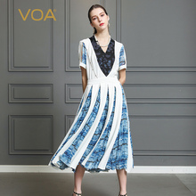 VOA Heavy Silk Pleated Dress Women Long Dresses Plus Size 5XL V Neck Beading Sailor Sweet Cute Print Summer Slim Mid Waist A339