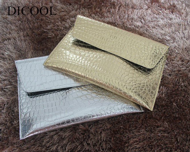 Hotselling Fashion for Crocodile metal mirror the light gold silver leather envelope bag women's day clutch handbag 51mm inside 30pcs 4 colors high quality diy handbag bag silver light gold metal accessory arch bridge connector hanger