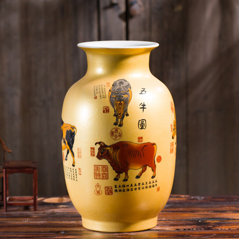 Jingdezhen Ceramic Big Vase New Chinese Style Golden Five Cows Large Vase Living Room Furnishing Articles