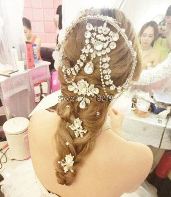 HIMSTORY New Design Luxurious Teardrop Czech Crystal Frontlet Bridal Wedding Hair Accessories Hair Jewelry in Hair Jewelry from Jewelry Accessories