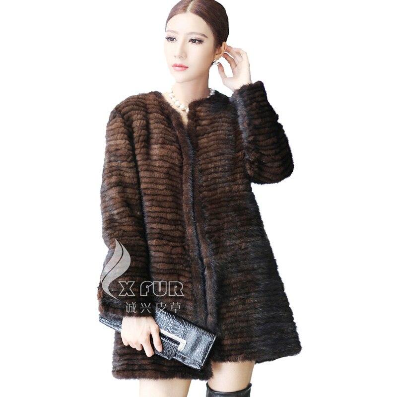 g De marron Cx Mode Brown Vison Tricoté a Main 22 And Noir Fourrure Dames Manteau Corée black FRdXqn