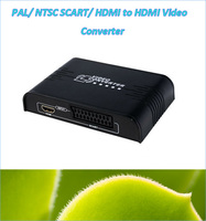 New PAL NTSC SCART HDMI To HDMI Video Converter Box 720P 1080P Scaler With 3 5mm