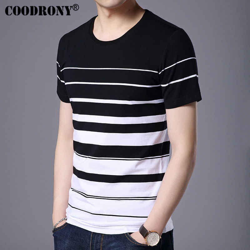 COODRONY Cotton Short Sleeve T-Shirt Men Brand Clothing 2019 Spring Summer New Fashion Striped Print O-Neck Tee Shirt Tops S7633
