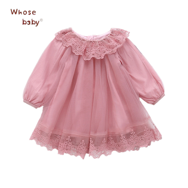 Princess Girls Dresses Floral Lace Infant Dress For Girls Carnaval Party Children Clothing Fashion Summer Baby Long Sleeve Dress acthink 2017 new girls formal solid lace dress shirt brand princess style long sleeve t shirts for girls children clothing mc029