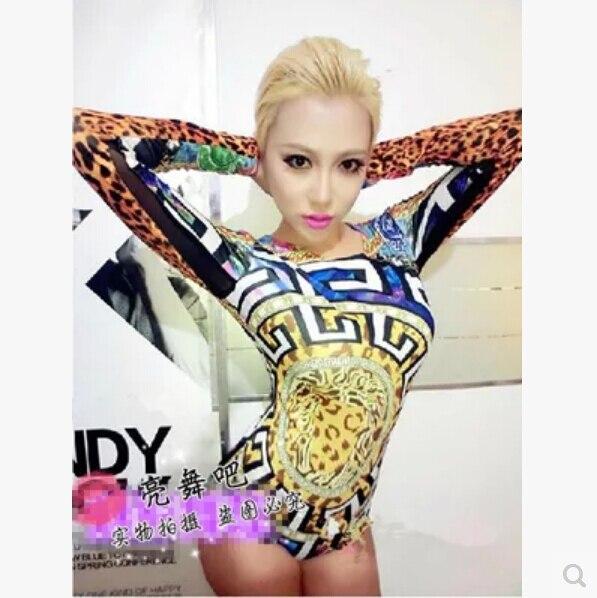 Free shipping 2016 European and American stars Bar nightclub singer ds costumes jazz queen DJ dance leotard color cheetah / Size