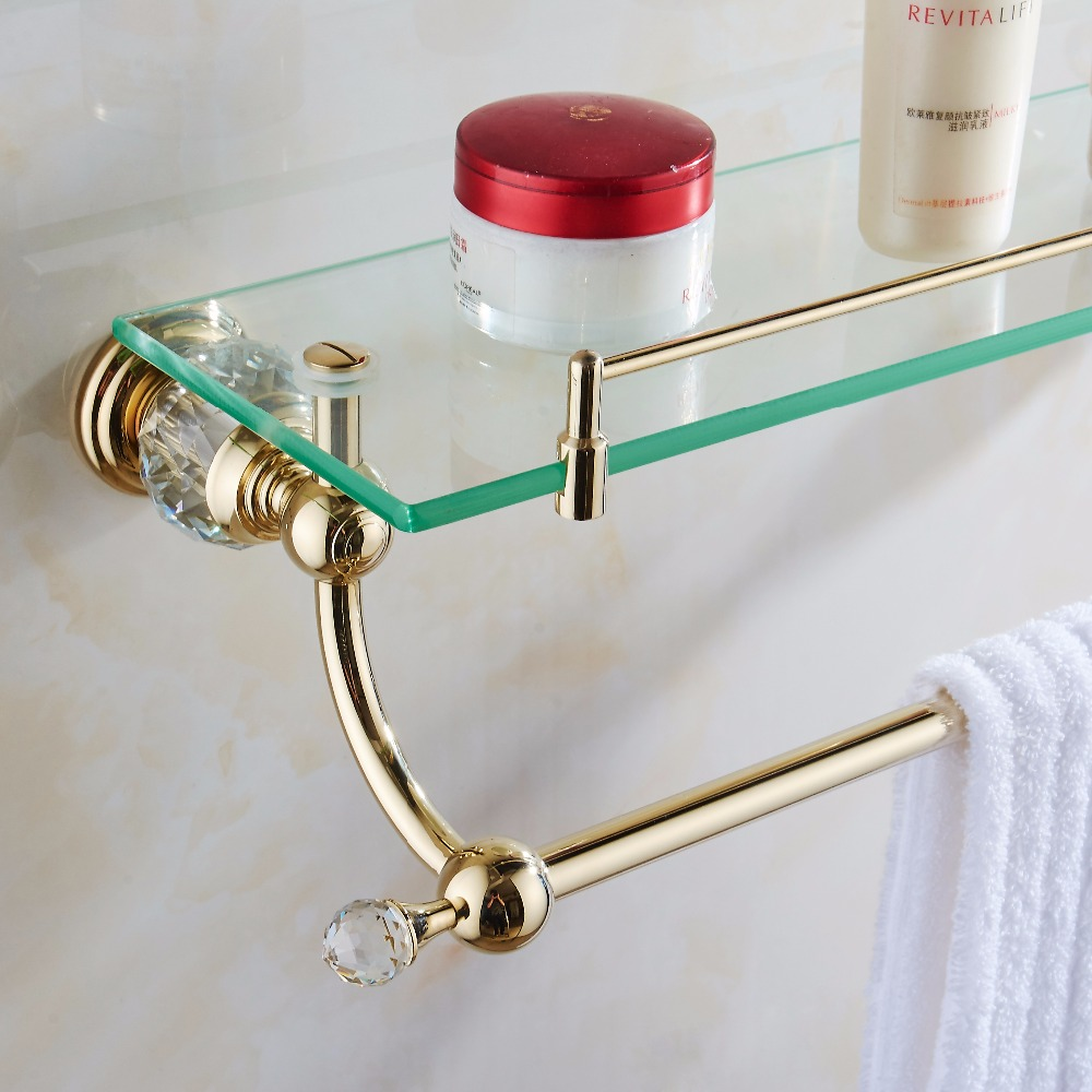 Bathroom Shelves Tempered Glass Shelf Brass Gold Towel Bar Hanger Cosmetic Racks Crystal Bathroom Accessories Wall Holder HK-39 wall mounted golden crystal bathroom accessories crystal bathroom shelves of blue and white porcelain racks