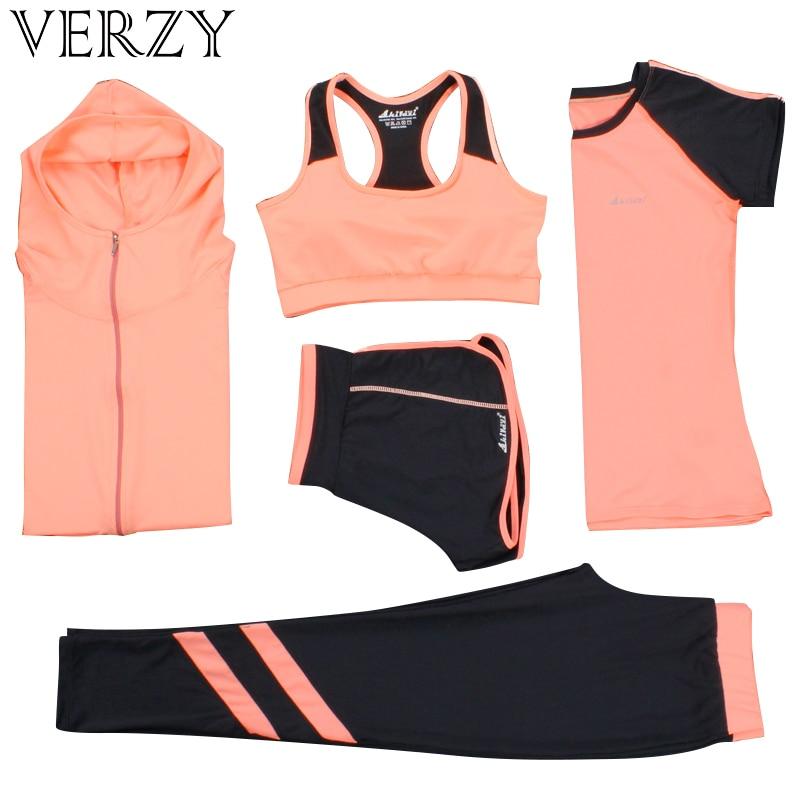 Costume de Yoga Femmes vêtements de gym fitness Courir Survêtement soutien-gorge de Sport + Sport Leggings + Yoga Shorts + Top 5 Pièces Ensemble grande taille M-3XL